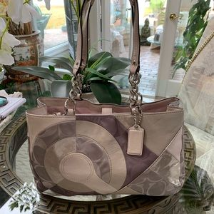 COACH INLAID PATCHWORK FABRIC AND LEATHER BAG!🤍💗